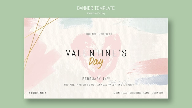 Banner template invitation for valentine's day