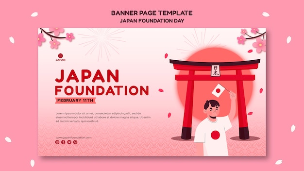 Banner template for japan foundation day with flowers