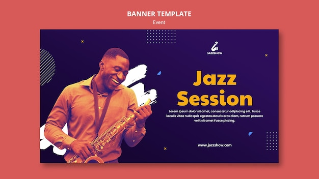 Banner template for jazz music event