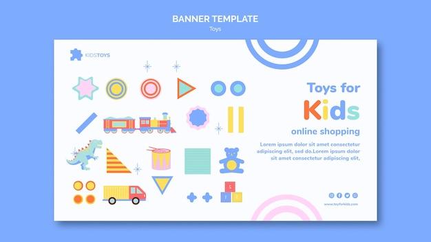 Modello di banner per lo shopping online di giocattoli per bambini