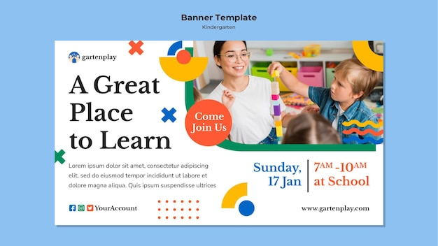 Banner template for kindergarten with children