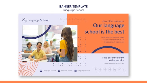 Banner template for language school