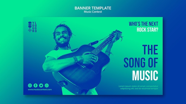 Banner template for live music contest with performer