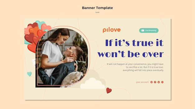 Banner template for love with romantic couple and hearts