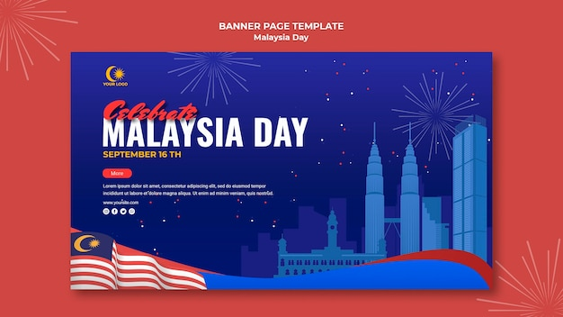 Banner template for malaysia day celebration