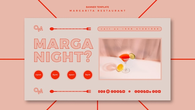 Banner template for margarita cocktail drink