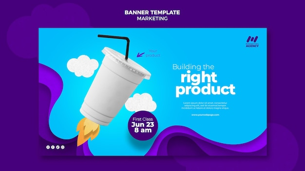 Banner template for marketing company with product