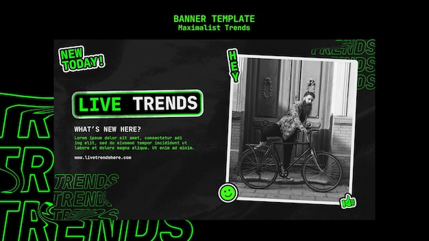 Banner template for maximalist trend