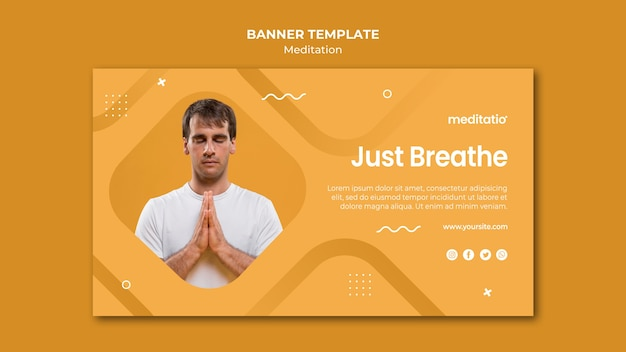 Баннер шаблон медитации концепции