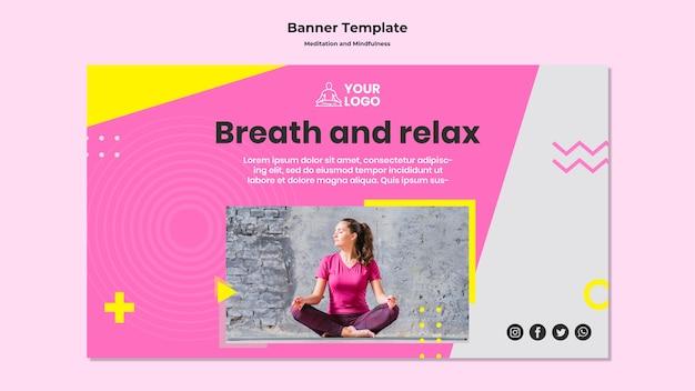 Modello di banner per meditazione e consapevolezza