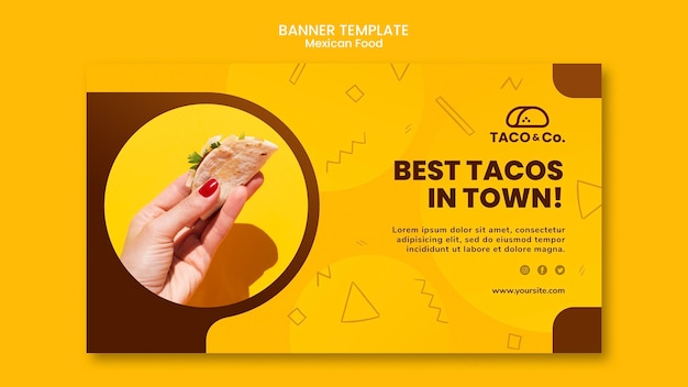 Banner template for mexican food restaurant
