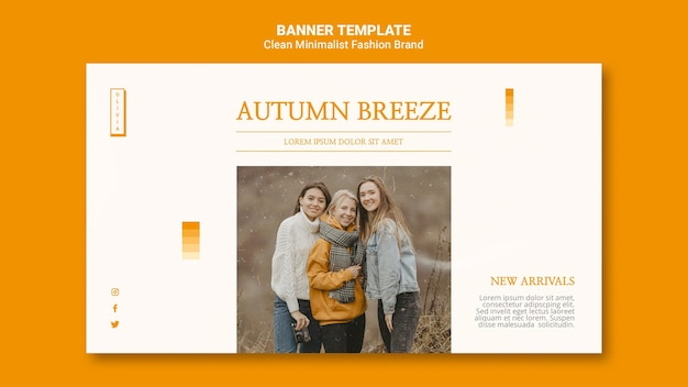 Banner template for minimalist autumn fashion brand