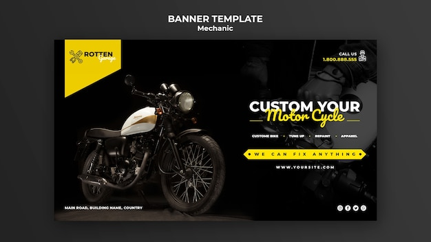 Banner template for motorcycle repair shop