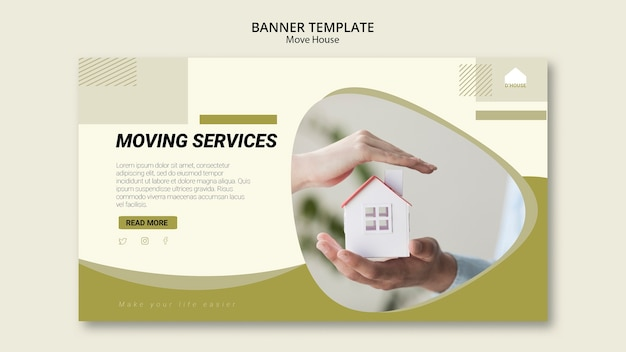 Banner template for moving house services