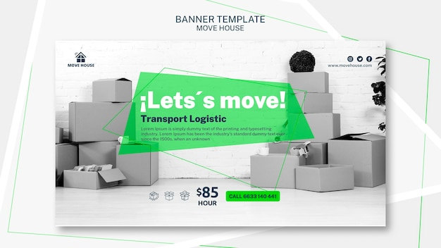 Banner template for moving service theme