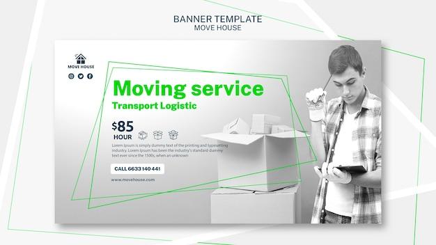 Modello di banner per servizio in movimento