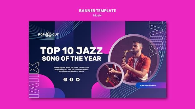Modello di banner per musica con musicista jazz maschio e sassofono