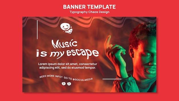 Banner template for music with man and fog
