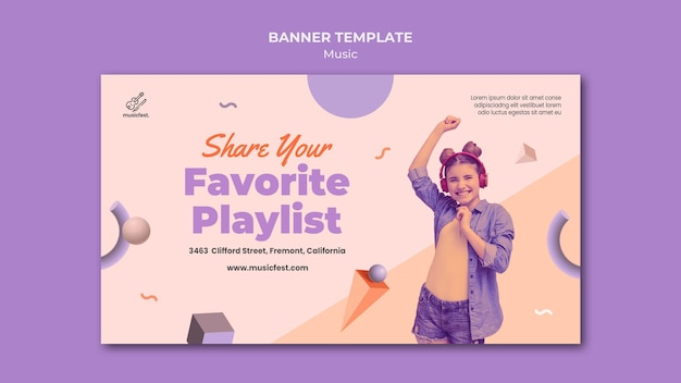 Banner template for music with woman using headphones and dancing