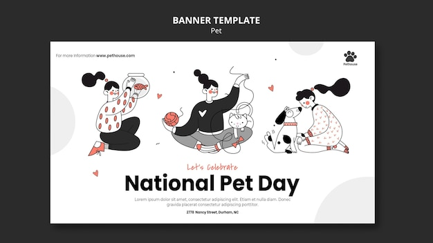 Banner template for national pet day with female owner and pet