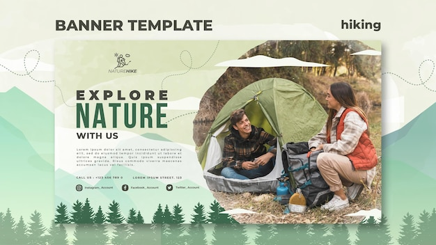 Banner template for nature hiking
