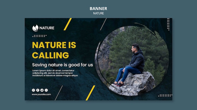 Banner template for nature protection and preservation