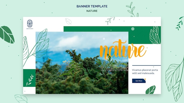 Modello di banner per la natura con paesaggio di vita selvaggia