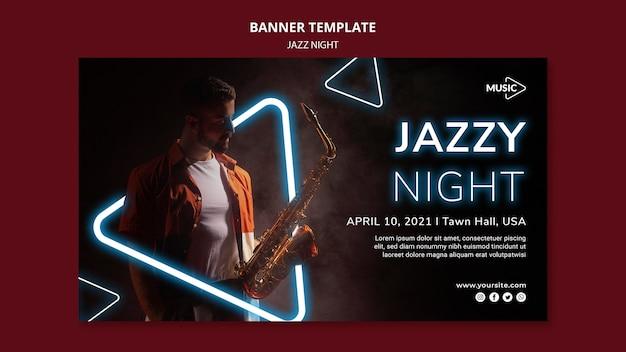 Modello di banner per evento notturno al neon jazz