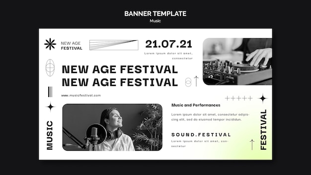 Banner template for new age music festival