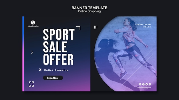 Banner template for online athleisure shopping
