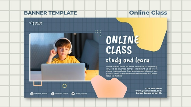 Banner template for online classes with child