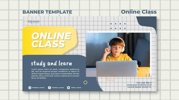 Modello di banner per lezioni online con bambino
