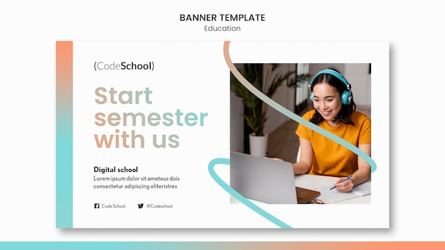 Banner template for online programming school