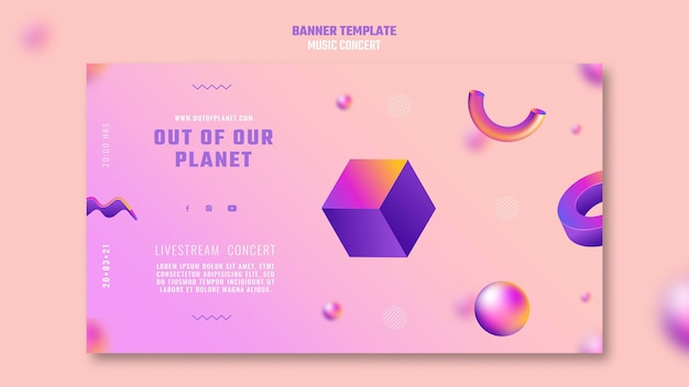 Banner template of out of our planet music concert Free Psd