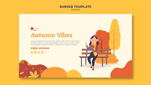 Banner template for outdoors autumn activities