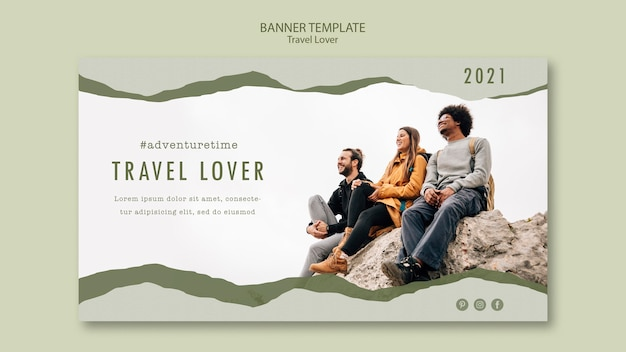 Banner template for outdoors traveling