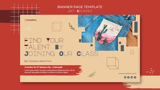 Banner template for painting classes