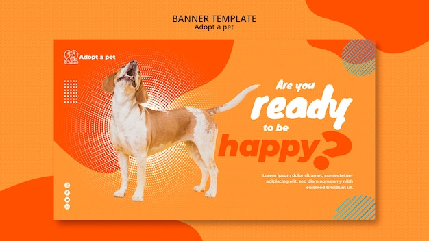 Banner template for pet adoption from shelter