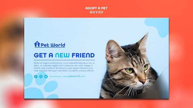Banner template for pet adoption with cat