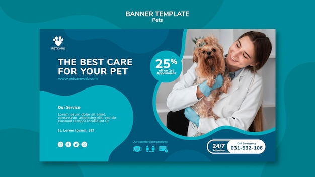 Banner template for pet care with female veterinarian and yorkshire terrier dog