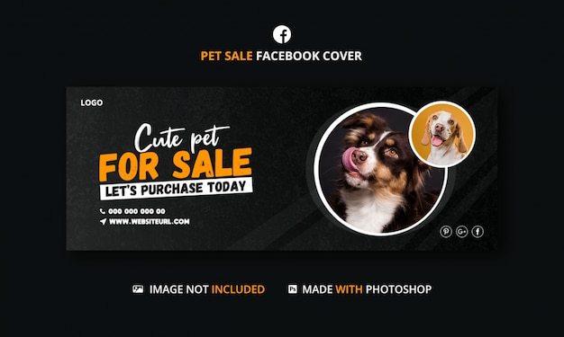 Banner template for pets on sale for social media post