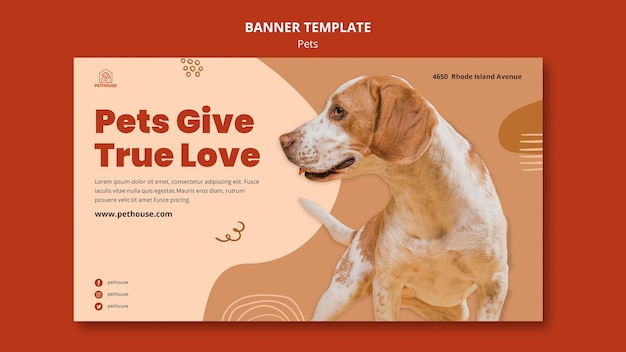 Banner template for pets with cute dog