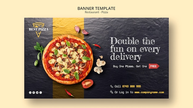 Banner template for pizza restaurant
