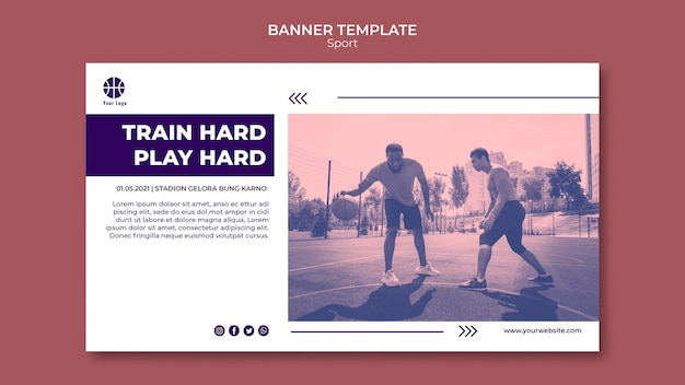 Banner template for playing basketball