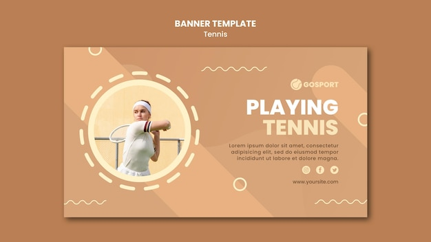 Banner template for playing tennis
