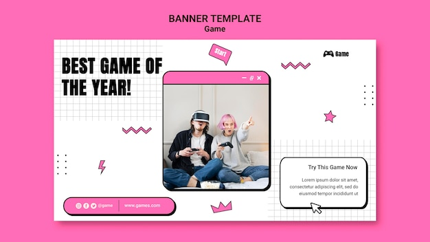Banner template for playing video games