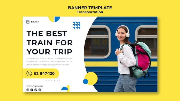 Banner template for public transportation by train with woman
