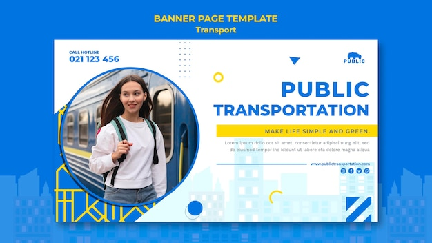 Banner template for public transportation with female commuter