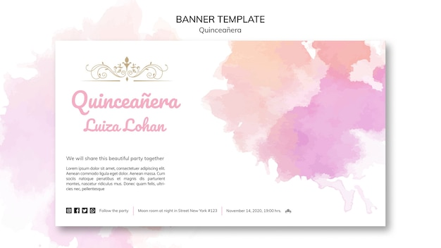 Banner template quinceanera party