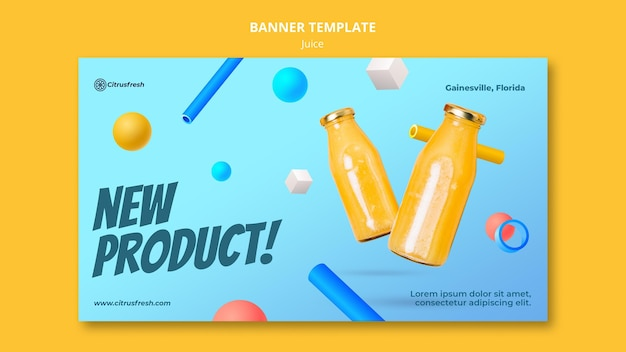 Banner template for refreshing orange juice in glass bottles